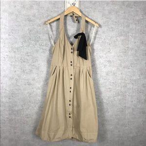 Anthropologie Khaki Retro Halter Dress with Bow